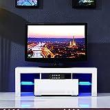 UEnjoy Modern High Gloss TV Unit Cabinet LED TV Stand Glass Shelves for Living Room (White 130cm/51)
