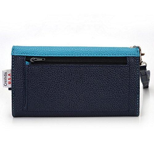 Kroo Pochette Téléphone universel Femme Portefeuille en cuir PU avec dragonne compatible avec Microsoft Lumia 535/640LTE Multicolore - Blue and Red Bleu - bleu