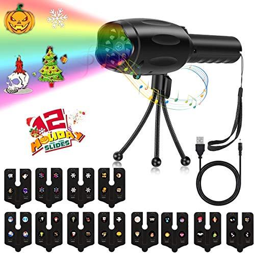 Portable Music LED-Projektor Dynamisches Muster mit 8 Melodien Taschenlampe 2-In-1 Stativatmosphäre Projektionslampe 12 Folien für Weihnachten Halloween Birthday Party Bar und mehr
