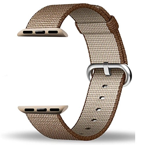 Cinturino Apple Watch ,PUGO TOP Woven Nylon Replacement Wrist cinturino Bracelet Strap for Apple Watch/Apple Watch Series 2 (42mm Toasted Coffee/Caramel)-2017