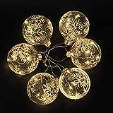 6 x Christbaumkugeln Kugeln Hängende Glaskugeln mit Warmweiß LED Lichter für Weihnachtsbaum Urlaub Party Festival Dekoration 8 cm