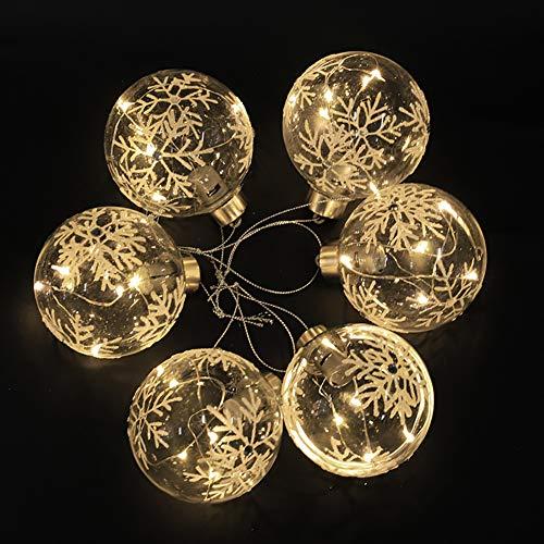 Warmiehomy 6 x palline dell'albero di natale palle appese palline di vetro con luci a led bianche calde per xmas tree holiday party festival decoration 10cm