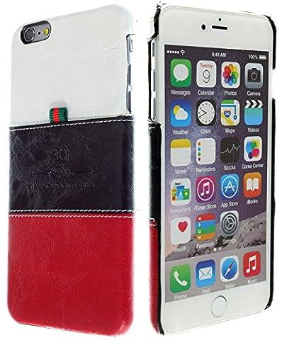 3Q iPhone 6 Plus 6S Plus Hülle Luxus Klasse Handy-Hülle Etui in hochwertigen Top Premium Leder-Optik Schweizer Premium Design und Verpackung Handy-Tasche Cover
