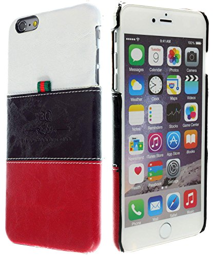 3Q iPhone 6 Plus 6S Plus Hülle Luxus Klasse Handy-Hülle Etui in hochwertigen Top Premium Leder-Optik Schweizer Premium Design und Verpackung Handy-Tasche Cover Weiss-Schwarz-Rot