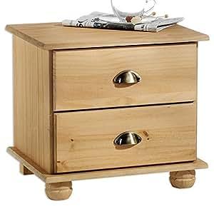 idimex table de chevet table de nuit 2 tiroirs colmar pin massif finition cir e. Black Bedroom Furniture Sets. Home Design Ideas