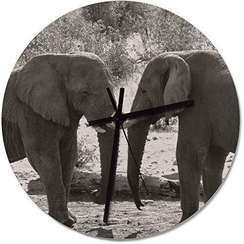 Azeeda 275mm 'Elefantes' Reloj de Pared Grande de MDF (CK00005856)