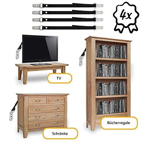 ninitosninitos 4x Fernseher Kippschutz, Doppelpack Universal Kippsicherung für Möbel und TV