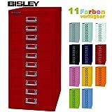 Bisley Schubladenschrank 29 aus Metall mit 10 Schubladen | Schrank für Büro, Werkstatt und Zuhause | Stahlschrank in 11 Farben (Kardinalrot)