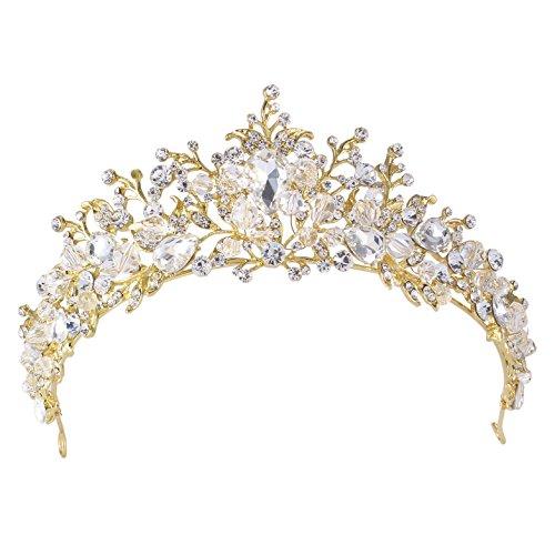 Vogelscheuche Handgemachte Kristall Tiara Stirnband Braut Hochzeit Prom Strass Krone Kopfschmuck (gold)