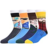 WYTartist Herren Cool Crazy Pattern Neuheit Lustige Baumwolle Crew Dress Socken (Face)