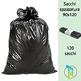 Palucart sacchi neri grandi resistenti sacchi spazzatura condominiali cm 90x120 120 litri 120 pezzi