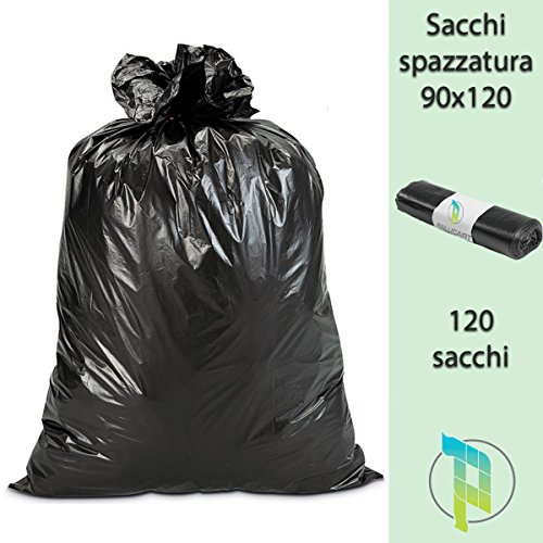 Palucart Sacchi Neri Spazzatura Grandi e Resistenti cm 90x120 120 litri 120 pezzi