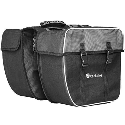 TecTake Doppel Gepäckträgertasche 35 Liter Gepäcktasche mit Griff