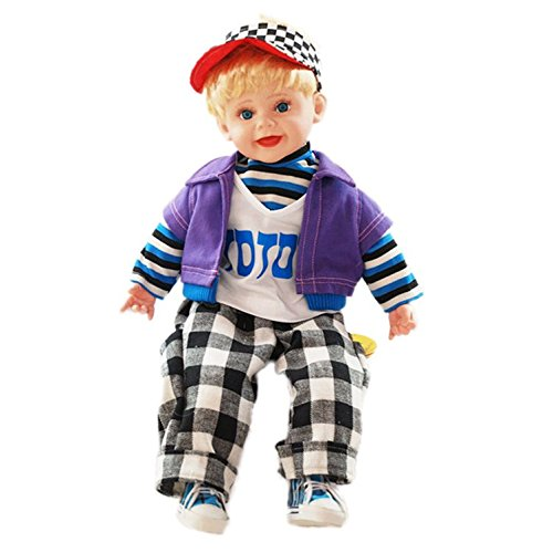 Sunshine 22 Inches Baby Musical and Singing Boy Doll , Educational Superior Material, Cute Dress + Sings Rhymes and Poems + Touch Sensors, Best Birthday Present
