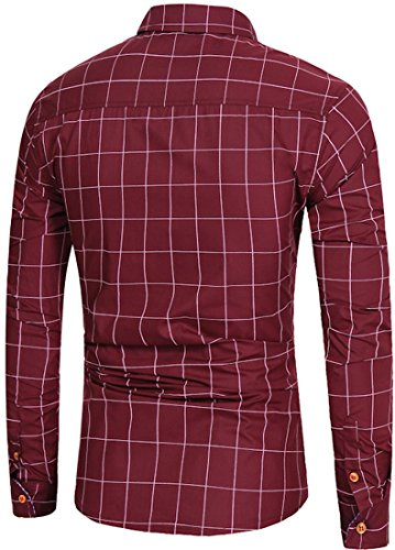 Sportides Herren Casual Long Sleeve Plaid Button Down Check Shirts Tops JZA102 JZA102_WineRed