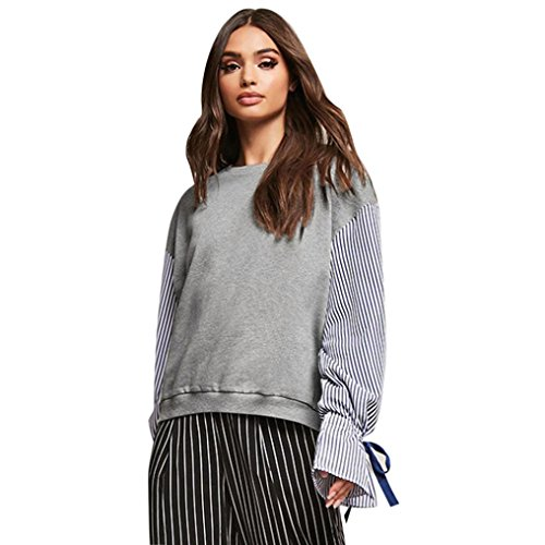 TWIFER Damen Frauen Nähen Striped Lose Oansatz Langarm Sweatshirt Bluse (S, Grau) (York-kleid-hose New)