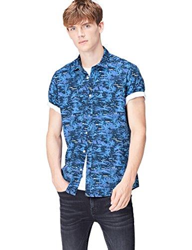 FIND Herren Regulär Geschnittenes Kurzarm-Hawaii-Hemd, Blau (Blue Palm), Large