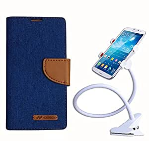 Aart Fancy Wallet Dairy Jeans Flip Case Cover for NokiaN520 (Blue) + 360 Rotating Bed Moblie Phone Holder Universal Car Holder Stand Lazy Bed Desktop by Aart store.