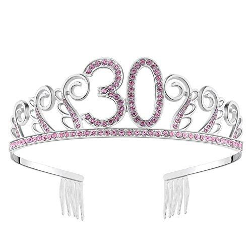 Babeyond Kristall Geburtstag Tiara Birthday Crown Prinzessin Geburtstag Krone Haar-Zusätze Silber Diamante Glücklicher 18/20/21/30/40/50/60 Geburtstag (30 Jahre alt Rosa)