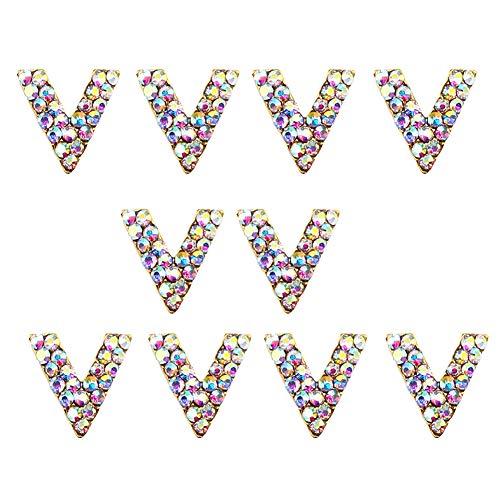 Cdet. Autocollants à Ongles Décoration 10pcs Ensemble Nail Art Cristal Mélangées Sticker Cadeau pour Outils Artistiques Bricolage décoration d'ongles Alliage Patch Style V coloré