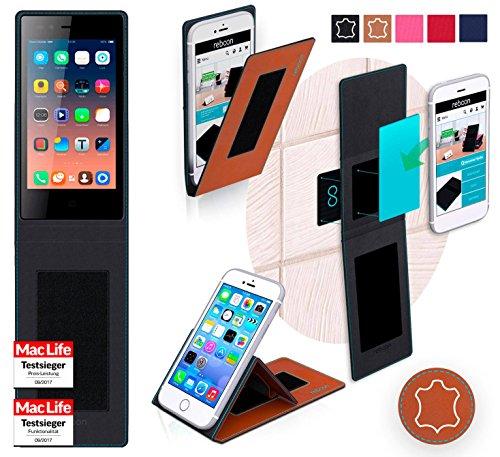 reboon Hülle für Siswoo A4 Plus Chocolate Tasche Cover Case Bumper | Braun Leder | Testsieger