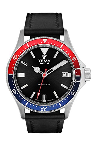 Montre Homme - YEMA - PRO DIVER - Bracelet Cuir Noir Lisse - 42mm - 30 Bar -YMHF1554-AA