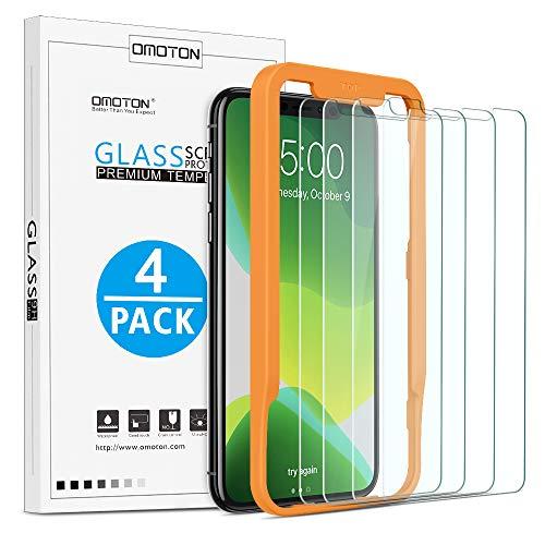 OMOTON Lot de 4 Verre Trempé pour iPhone 11 Pro Max/ XS Max Film Protection Ecran [Kit Installation Offert] 6.5 Pouces, 9H Dureté, sans Bulles