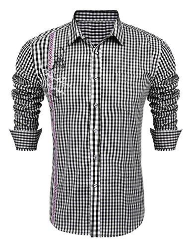 Langarmhemden Trachten schwarz männer Hemd Freizeit Shirt Trachtenhemden für Herren schwarz XL