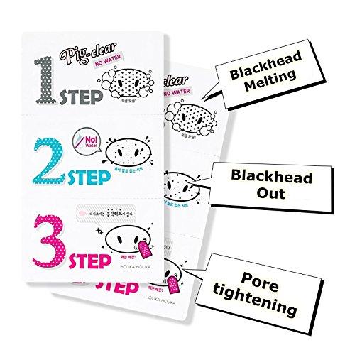 Holika Holika® - Pig Nose Clear Black Head 3 Step Kit (No Water) für Frauen und Männer - Nasenpflaster gegen Mitesser und Unreinheiten - Black Head Entfernung in drei Schritten ohen Wasser - Nasenpflaster gegen Mitesser und Unreinheiten - Gesichtsreinigung unreine Haut für Männer und Frauen - Gesichtsmasken & Gesichtskuren - Streifen - Tagespflege - Gesichtspeelings