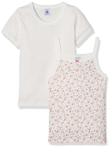 Petit Bateau Mädchen Unterhemd Lot 2P Tsmc+Chebr, Mehrfarbig (Special Lot 00), 152 (Herstellergröße: 12ans/152cm) (Unterhemd Bateau Petit)