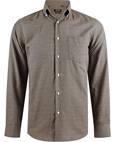 Enzo camicia uomo marrone regular fit elegante maniche lunghe e colletto abbottonato taglia xxl