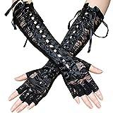 Handschuhe Damen Party Armstulpen Spitzenverband Langes Band Niet Geeignet für Dienstmädchen-Outfits, Lolita und 50er Retro Party XXYsm Schwarz