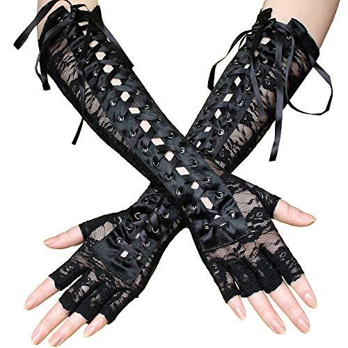 Handschuhe Damen Party Armstulpen Spitzenverband Langes Band Niet Geeignet für Dienstmädchen-Outfits, Lolita und 50er Retro Party XXYsm (Dienstmädchen Outfit)
