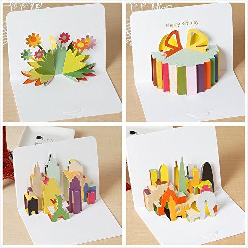 holastar Pop Up Karten, 3D-Karte, Blume, Geschenk-Box, London, New York, Geburtstagskarte, Grußkarte für alle Anlässe (4Stück)