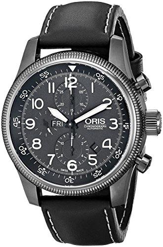 Oris hombre 67576484234ls gran corona pantalla analógica Swiss–Reloj automático negro