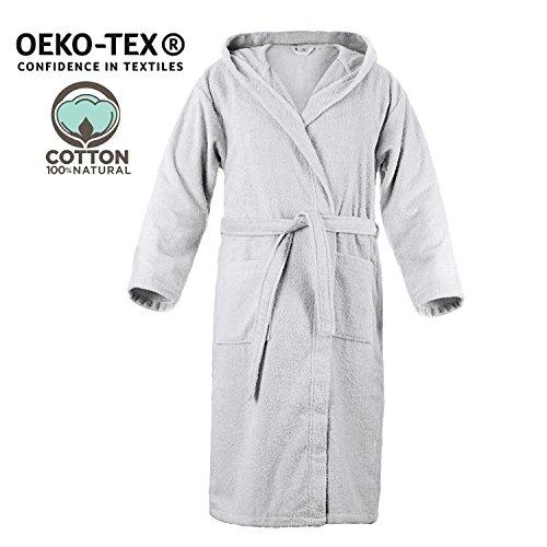 Twinzen accappatoio con cappuccio in spugna, per uomo (l, grigio stagno), 2 tasche, cintura certificato oeko tex - vestaglia - per uscire dalla doccia, assorbente e confortevole