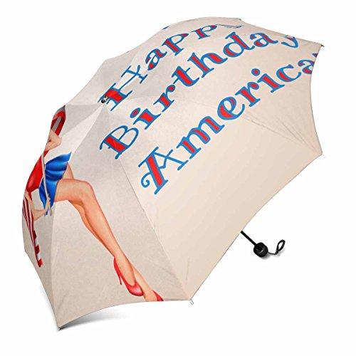 InterestPrint Independence Day in USA 4. Juli Pin up Blond Woman with Flag of USA on Beige Design Faltbarer Tragbarer Outdoor Travel Kompakter Regenschirm (43 Zoll)