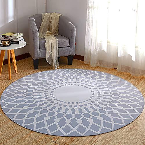 LXFDC Runde Wohnzimmer Teppich Moderne Einfache Mode Design Yoga Rutschfeste Stuhlmatte Schlafzimmer Couchtisch Nacht Haushalt Balkon Waschbar Dekor,B,120 * 120cm (Mode-design Für Wohnzimmer)