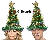 Party-Teufel 4 Stück Weihnachtsbaum Tannenbaum Hut Weihnachtsmütze mit Girlande Kugel und Stern für Weihnachten und Weihnachtsfeier