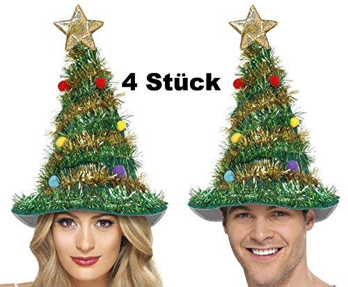 4 Stück Weihnachtsbaum Tannenbaum Hut Weihnachtshut mit Girlande Kugel und Stern für Weihnachten und Weihnachtsfeier (Teufel Kostüme Herren)
