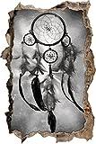 Indianischer Traumfänger Kunst Kohle Effekt Wanddurchbruch im 3D-Look, Wand- oder Türaufkleber Format: 92x62cm, Wandsticker, Wandtattoo, Wanddekoration