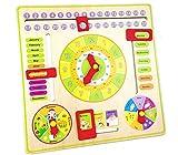 Gobus Horloge d'enseignement Jouet de développement éducatif Horloge numérique en Bois pointeur pour Les Enfants à Apprendre Calendrier, Heure, Date, météo et Saisons