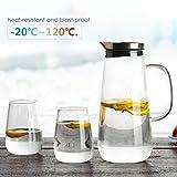 HOMFA Caraffa Vetro Borosilicato di 1,5L, Acqua Caraffa Brocca per Tè, Caffè, Bottiglie in Vetro con Coperchio in Acciaio Inox e Manico in Vetro | 2*380 ml Bicchieri