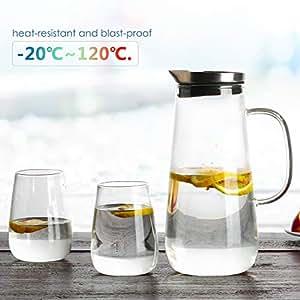Homfa 1,5 L Glaskaraffe mit 2 gläsern Wasserkaraffe mit