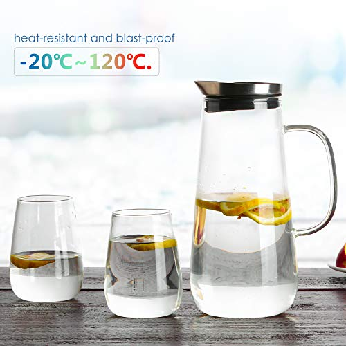 Homfa 1,5 Liter Glaskaraffe mit 2 Gläsern aus Borosilikatglas mit Edelstahl Deckel und Glas Griff...