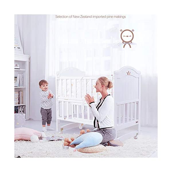 VBARV Multifunctional cradle bed-three-in-one stitching large bed solid wood crib, pine oversized children's play bed, bedroom furniture suitable for children aged 0-12 VBARV Non-toxic environmental protection material, no sharp fixing device, external dimensions are 125x72x104cm. Side-open fence, drowsy, easy to care for babies and able to hug in and out; can be spliced   into a large bed for easy feeding. The bed has four positions and is adjustable in height. The bed can be turned into a playground, cradle bed, sofa, desk, and is a multifunctional bed. Easy to clean and maintain: The surface of the crib can be wiped with a damp cloth to remove dust or dirt from the surface. 6