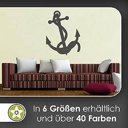 Ancla con Cuerda pared adhesivo en 6tamaños––Vinilos Wall Sticker, 73_dunkelgrau, 40 x 31 cm