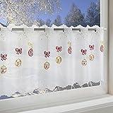 Scheibengardine WEIHNACHTSKUGELN für Küche und Kinderzimmer / weiße Wohnzimmer Bistrogardine / 45x115 cm / Moderne und transparente Gardine zu Weihnachten