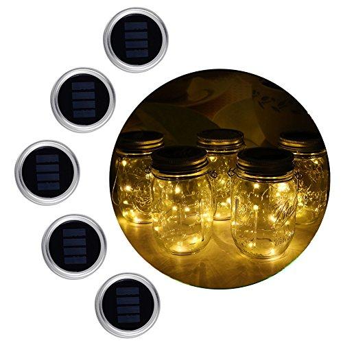 Asenart ® (5er Pack) Solar Mason Jar Deckel Einsatz, LED Fairy Mason Jar Laterne für Outdoor Gartendekor Hochzeit Party Schreibtisch Akzent Licht (Jars nicht enthalten) (Warmes Weiß (Steady))