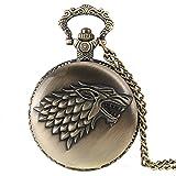 Reloj de cuarzo de bolsillo estilo retrovintage tipo bronce cepillado antiguo para hombre, con motivo del escudo de la casa Stark de Juego de Tronos, con cadena de 80cm para utilizar como collar